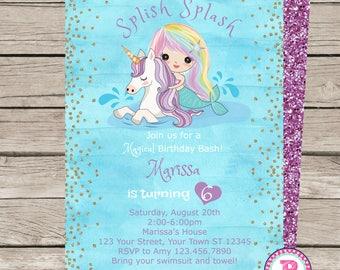 Mermaid Unicorn Watercolor Birthday Party Invitation Front Back Digital File Print Pool Party Splish Splash Pad Magical Birthday Bash Purple