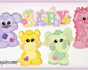 Baby Girl Scrapbook Page Handmade Premade Embellishment Die Cut Set