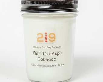 Vanilla Pipe Tobacco Soy Candle, Tobacco Candle, Leather Candles for him, Men Candle, Masculine Candle, Candles for Father, Husband Candle