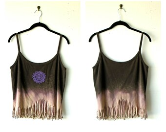 M-L~ Mandala Moon Rise Distressed & Fringed Tank Top / Tunic ~ gypsy clothing lagenlook handmade upcycled boho chic hippie wearable art