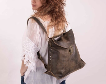 Transformer Bag, Brown Leather with Used Effect, Large Leather Backpack, Laptop Backpack, Brown Crossbody Bag, Brown Leather Backpack
