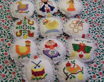 calico and lace ornaments