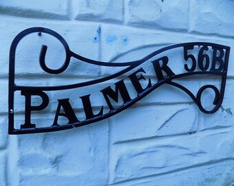 Named House Sign..........Wrought Iron (Forged Steel) Custom Made Lettered House Plaque+