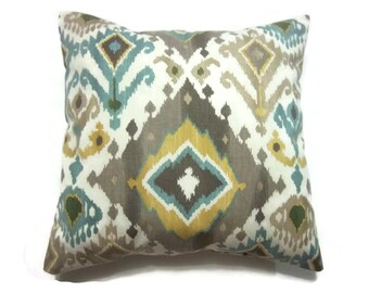 Decorative Pillow Cover Teal Taupe Yellow Light Cream Ikat Design Same Fabric Front/Back Toss Throw Accent 18 x 18 inch x