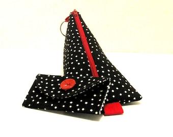 Handmade Pouch Card Case bundle polka dots Bag black pencil case gifts