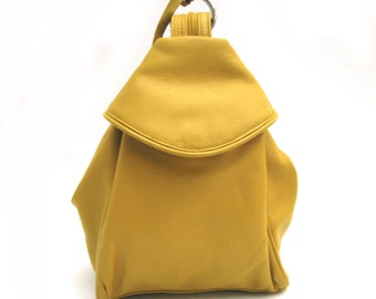 Leather Mustard Chunky Three Way Back Pack