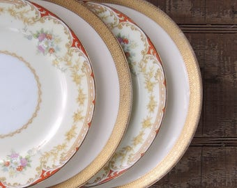 Mismatched Vintage Dessert Plates Set of 4 Mix Matched Plates for Wedding Side Plates Bread and Butter Replacement China