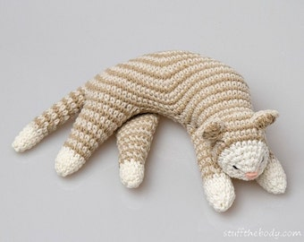Sleepy Cat Crochet Pattern, Cat Amigurumi Pattern, home decor pattern, crochet sculpture, crochet art, toy pattern, kitten pattern, softie
