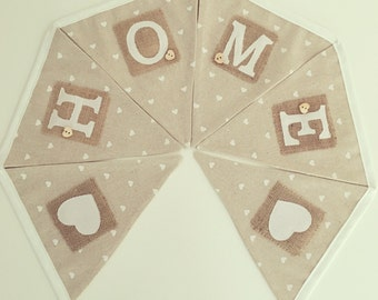 HOME bunting on natural linen with printed heart