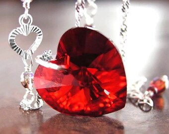 Red Heart Necklace Swarovski Red Crystal Heart Necklace Sterling Silver Chain Necklace Red Heart Pendant Necklace Valentines Day Gift