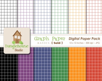 Graph Paper Digital Paper Pack Grid Instant Download Digital Scrapbooking Basics Bold Style