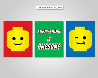 Lego Nursery Bedroom Wall Art - Lego Wall Art Decor - Everything is Awesome - Prints - Canvas - Printable