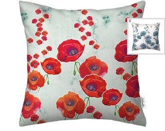SALE Poppy pillow cover by original design, red & mint floral cushion cover, grey flowers pillowcase 18x18' (45x45 cm), 20x20' (50x50 cm)