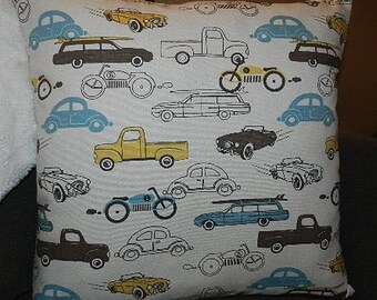 vintage, ecru, blue and yellow cars Cushion cover