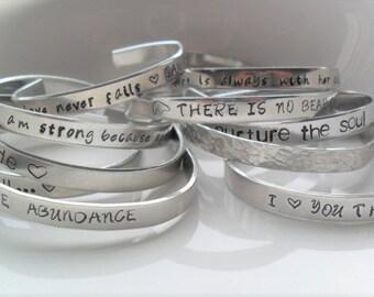 Custom Stamped Bracelet, Personalized Jewelry, Friend Bracelet, Wedding Gift, Mantra Bracelet, Engraved Bracelet, Loved ones, Children