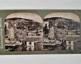Vintage Stereoview Card #604 Sailors Cleaning the USS Topeka's Boat Cosmopolitan Series E & H T Anthony Co Collectible Vintage Stereoview