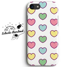 Pastel Heart iPhone 8 case, iPhone 7 Plus case, iPhone 6s case, dotty, love pastel, pink, green,  blue, Pastel Goth, Pastel Goth Clothing