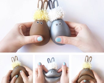 Gift for kids, Bunny Ears, Rabbit, 2 Pieces, Sensory toy, Kids party, Kids Present, Easter, Funny toy, Softie, Silver & Brown