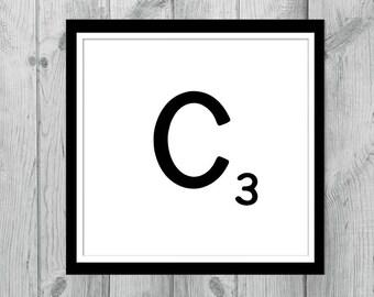 Instant Download Art - Printable Art - Print at Home - Printable Downloads- Monogram Printables - Printable Letters  - Alphabet Letter C