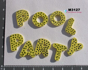 Pool Party Word - Handmade Ceramic Mosaic Tiles to use in your designs M3227