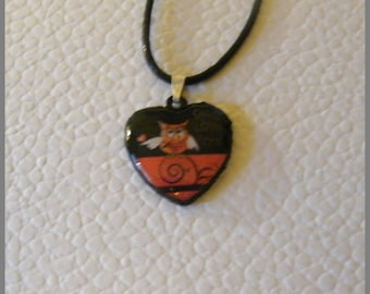 """Heart pendant with necklace """"Owl love you"""" - wood and resin cabochon"""