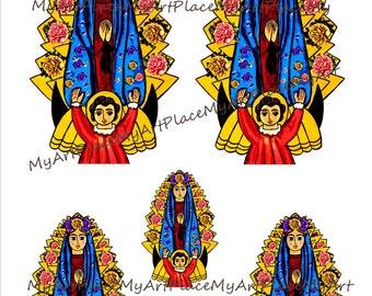 Collage Sheets Virgin Mary,  Clip Art Virgin Mary, Digital Download Madonna, Catholic Art,  Folk Art, Saint,  Mexican Art, Spiritual Art