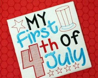 My First 4th of July Bodysuit - First 4th of July Outfit - Independence Day Outfit - Baby's First 4th of July - Red White and Blue Outfit