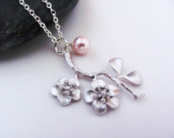 Cherry Blossom Pink Pearl Necklace in Silver-  dainty, spring, bridal bridesmaids jewelry, available in gold and other pearl colors.