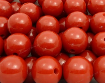 20mm Dark Red Chunky Bubblegum Beads - 10pcs - Chunky Gumball Beads, Candy Color Beads, Round Acrylic Beads - BR4-2