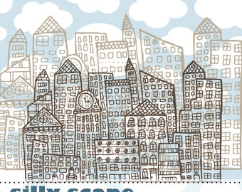 Hero Arts Silly Scape DK008  City Buildings Instant Download