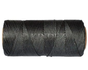 Waxed Cord, 15 meters/16 yards Macrame Cord, Linhasita COR 691, Jewelry Thread, Dream Catchers String - Dark Charcoal