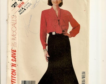 A V-Neck, Buttoned, Long Sleeve Blouse w/Tie Collar, & 6-Gore Flared Skirt Sewing Pattern for Women: Uncut- Sizes 8-10-12 • McCall's 3216