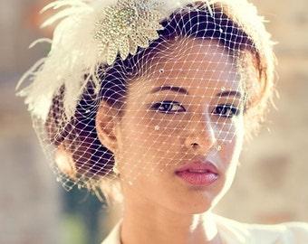 Birdcage Veil, Feather Fascinator, Bridal Hair Accessory, Head Piece, Wedding Veil, Swarovski Crystal, Flower, Blusher Veil, Ivory White