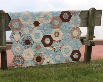 Quilts / Quilts for Sale / Baby Boy Quilts / Custom Quilts /  Bunny Rabbit Quilt / Blue and Brown Quilt /  Quilts for Boys / MADE TO ORDER