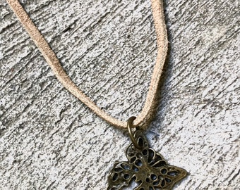 hipster antique gold leather butterfly tie necklace
