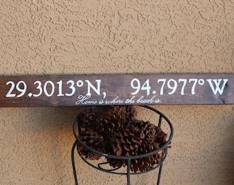 personalized longitude and latitude wood sign 28x4