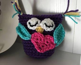 Who Loves You - Adorable Hand-Crochet Sleepy Owl Owlette Doll Stuffed Animal with Heart