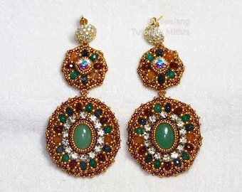 PDf Tutorial - Mithra Earrings Beading Instruction Instant download Beadweaving Pattern