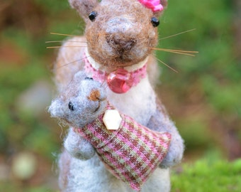Mother Squirrel and Baby one of a kind needle felted sculpture