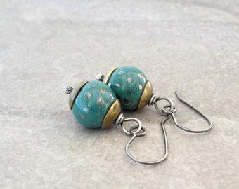 teal dangle earrings, kazuri clay silver brass earrings, rustic dangle earrings, mixed metal, metalwork jewelry