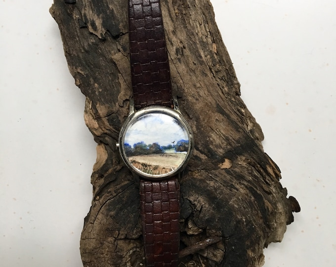 Overture / original tiny painting framed / timeless watch art