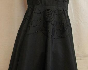 Vintage Black Taffeta 1950s Party Dress