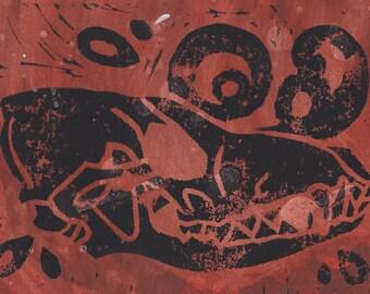 Coyote Skull Monoprint on Paper 5x7 (A) Vulture Culture