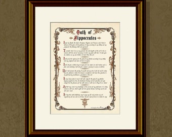 "Fine Art Print - ""Vintage Oath of Hippocrates"" 8.5""x11"", Medical Graduate print, Medical Doctor print, Doctor Office Decor"