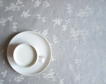 "Linen tablecloth natural beige grey linen white ivory leaves 37""x37"" or made to order your size, great GIFT"