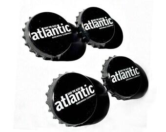 Craft Beer Magnet Set, The Atlantic Brewery Magnets, Maine Beer Bottle Top Magnets, Set of Four, File Cabinet Magnet, Refridgerator Magnets