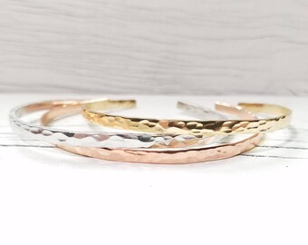 Mixed Metal Stack, Hammered Stacking Cuff, Skinny Stacking Cuff
