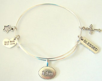 I am Blessed Expandable Wire Bangle Bracelet by EverTrend, Stackable Bangle Bracelet