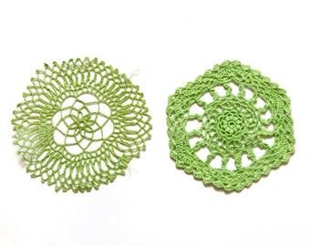 2 Bright  green hand dyed Crochet Doilies Vintage doilies