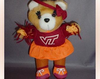 Virginia Tech Cheerleader Teddy Bear 1990s Plush